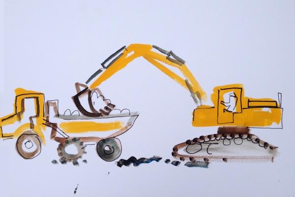 digger & dumper - wallasea island - ink pen & gouache -  36 x 48 cms