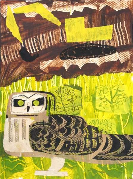 short-eared owl & digger - wallasea island - acrylic -  48 x 36 cms