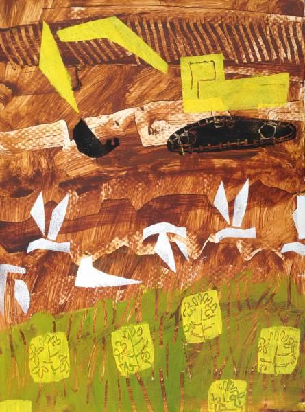 digger crane, gulls & rape - wallasea island - acrylic -  48 x 36 cms
