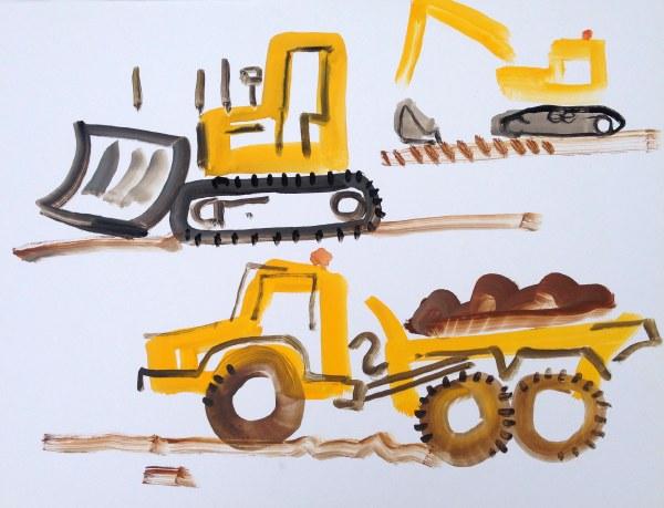 dumper, bulldozer & digger - wallasea island - gouache -  36 x 48 cms