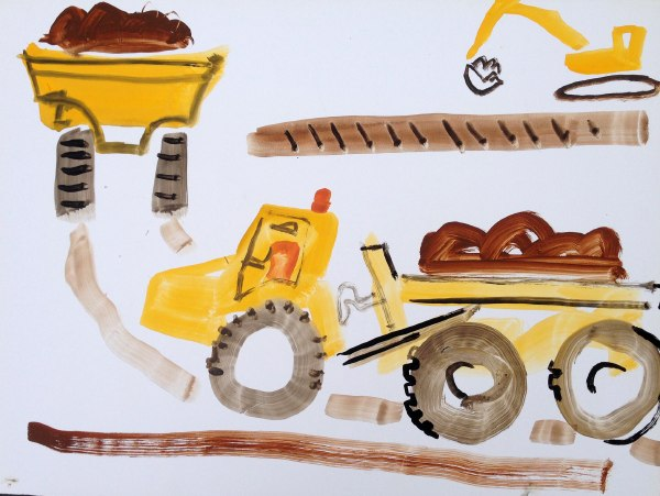 earth movers & digger - wallasea island - gouache -  36 x 48 cms