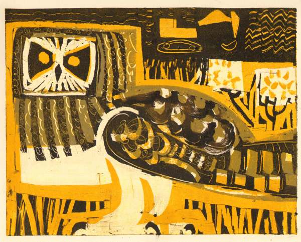 short=eared owl & digger - wallasea island - monotype -  28 x 35 cms