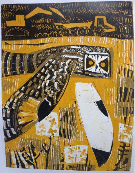 short-eared owl & earth movers - wallasea island - monotype - 50 x 38 cms