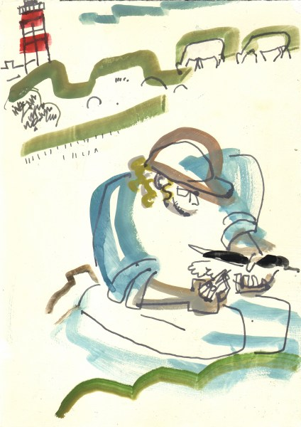inspecting the shearwater burrows - bardsey island - gouache & ink pen -