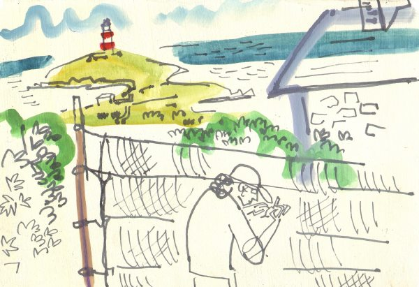mark extracting a blackcap - bardsey island - gouache & ink pen -