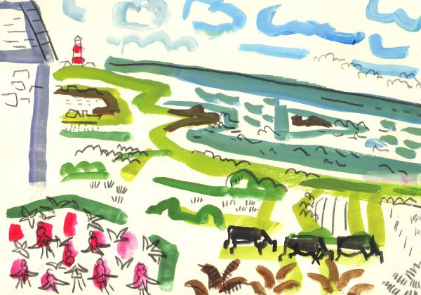 view to the southwest - bardsey island - gouache & graphite -