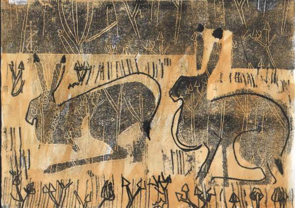 6741hares amongst arable weeds - wallasea island - monoprint - 21 x 29.7cms (A4)using card incised wtih weed pattern to make tonal blocks, cutting stencils to block all but the hare forms, then drawing on the back of the paper for outlines.
