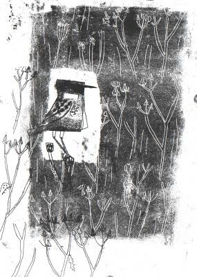 6755 - stonechat & bristly oxtongue - wallasea island - monoprint - 42 x 29.7 cms (A3)