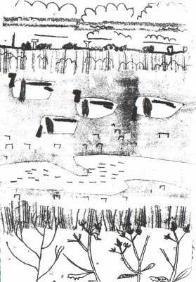 6754shelduck around the newly created lagoons - wallasea island - monoprint - 38 x 27 cms