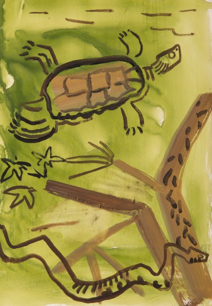 dice snake and pond turtle - Turkey - gouache -