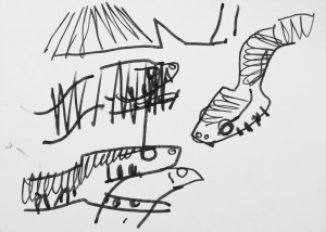 dice snake & fish - Turkey - ink pen -
