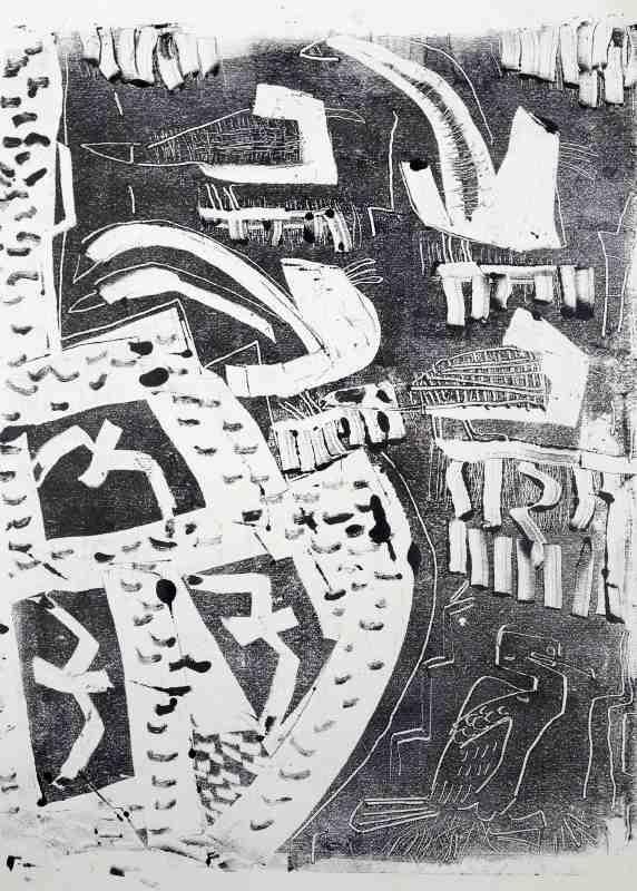 kittiwakes & shag - st abbs - charcoal - 50 x 38 cms