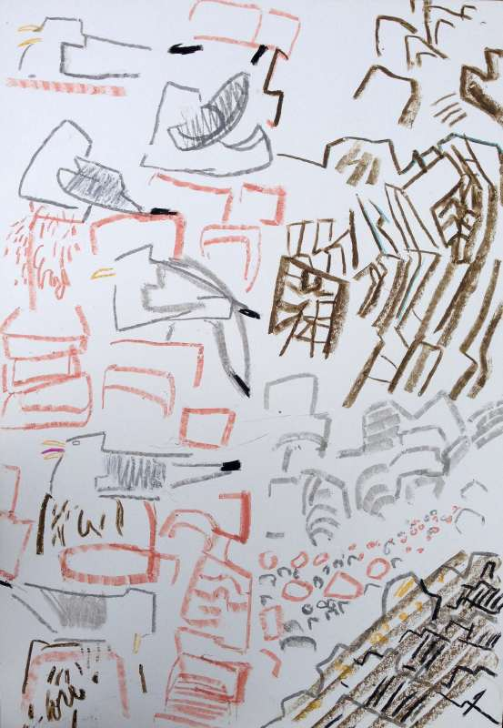 kittiwakes - dunbar - wax crayon - 82 x 57 cms