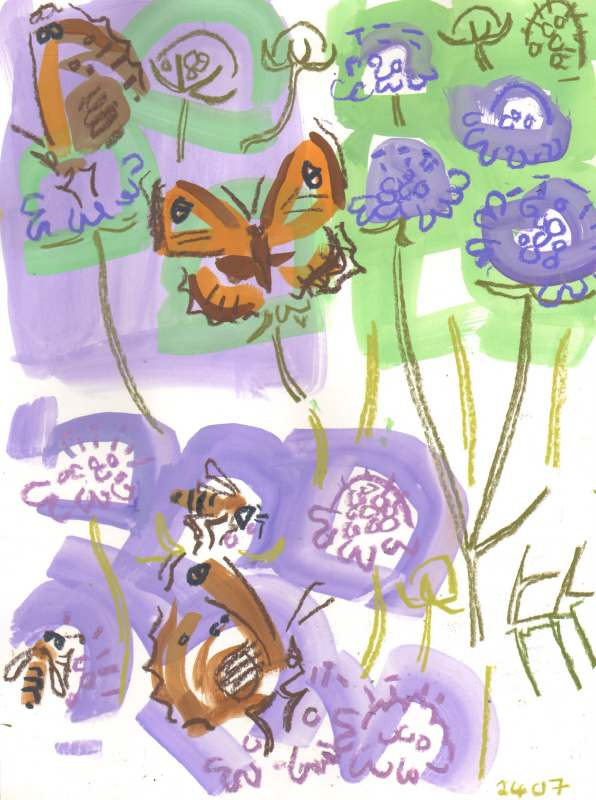 gatekeepers & bees on scabious - allotment bristol - gouache & wax crayon - c. A3