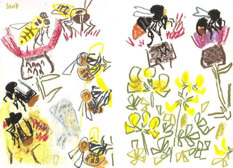 allotment bristol - gouache & wax crayon -  c. A3