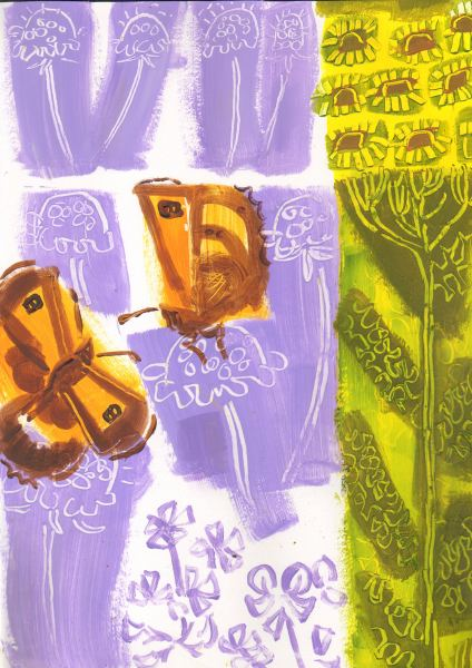 gatekeepers, scabious, ragwort - allotment bristol - acrylic - c. A3
