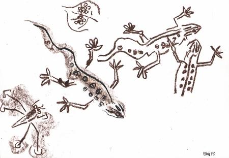 9234-courting newts - bristol - wax crayon - c. A3