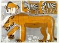 ma24(001)  <b>lion, zebra & wildebeest, Etosha</b>  Etosha, Namibia  monotype  59.4 x 84 cms (c.A1)  £550&#8208;Greg&nbsp;Poole