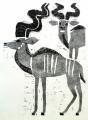 ma31  <b>kudu</b>  Etosha, Namibia  woodcut  84 x 59.4 cms (A1)  £220‐GregPoole