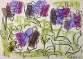 138‐4671 <b>bee (anthophora plumipes) on pulmonaria</b>  wax crayon A3 (29.7 x 42 cms) £POA‐Greg Poole