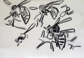 138‐4675 <b>hornet impaled</b>  charcoal 28 x 42.5 cms £POA‐Greg Poole