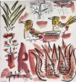 <b>d'arnaud's barbet & aloes</b>    gouache & wax crayon  30 x 28 cms  £120‐GregPoole