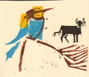 102‐5705 <b>bee-eater & bull</b>    woodcut    NOT AVAILABLE‐Greg Poole