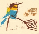 102‐5706 <b>bee-eater & van</b>  woodcut  NOT AVAILABLE‐Greg Poole