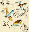102‐5712 <b>bee-eaters & cattle</b>  gouache & indian ink 32 x 32 cms SOLD‐Greg Poole