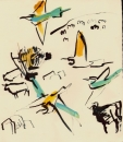 102‐5713 <b>bee-eaters & cattle 2</b>  gouache & indian ink 32 x 32 cms £90‐Greg Poole