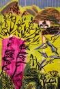 102‐5714<b>bee-eaters 2</b>charcoal & gouache59.4 x 42 cms (c.A2)£150&#8208;Greg&nbsp;Poole