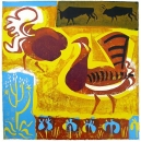 103‐5760 <b>extremadura - bustard display</b> extremadura, spain relief print 60 x 60 cms £190‐Greg Poole