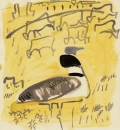 103‐5762 <b>little bustard & sheep</b> extremadura, spain gouache 32 x 32 cms £POA‐Greg Poole