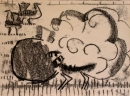 103‐5766 <b>great bustard display</b> extremadura, spain monoprint 29.7 x 42 cms (A3) £60‐Greg Poole