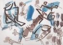 <b>blue tits 2</b>  leigh woods, nr. Bristol  gouache  23 x 31 cms  £POA‐GregPoole
