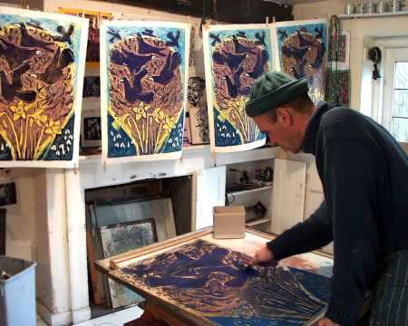 Inking up rook woodcut, King's Cliffe studio c. 2002