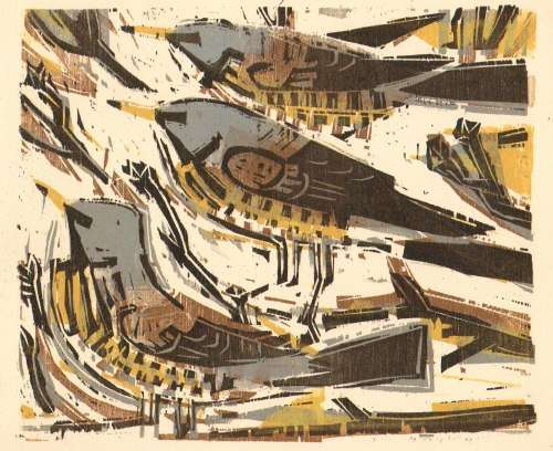 <b>fieldfares, 4 block woodcut</b>      woodcut   20 x 25 cms   &#8208;Greg&nbsp;Poole