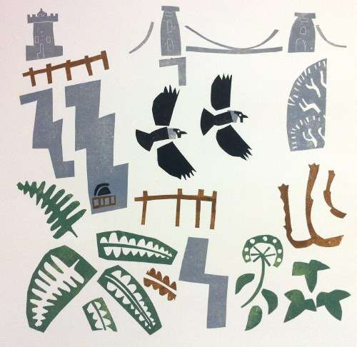<b>jackdaws, ferns & ivy, avon gorge</b>    relief print,card print  50 x 50 cms  &#8208;Greg&nbsp;Poole
