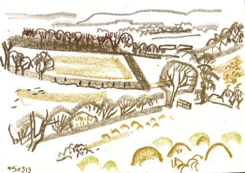 bl-012  <b>landscape</b>  mendips  wax crayon  29.7 x 42 cms (A3)  &#8208;Greg&nbsp;Poole