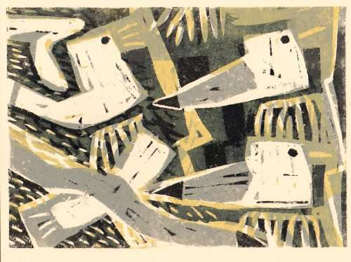 101&#8208;6255&emsp;<b>kittiwakes</b>&emsp;st abbs&emsp;woodcut&emsp;21 x 29.7cms (A4)&emsp;&#8208;Greg&nbsp;Poole