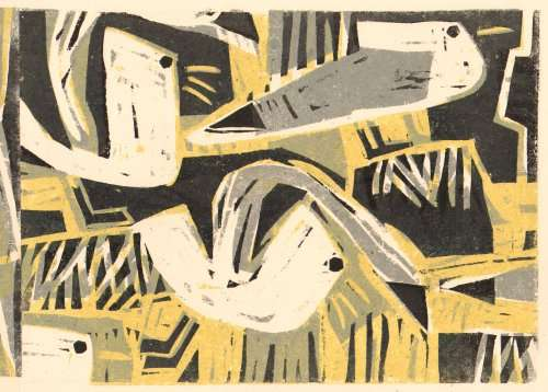 101&#8208;6256&emsp;<b>kittiwakes</b>&emsp;st abbs&emsp;woodcut&emsp;21 x 29.7cms (A4)&emsp;&#8208;Greg&nbsp;Poole