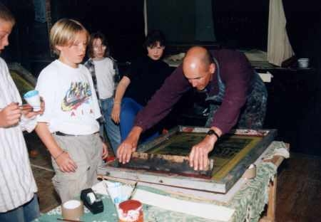 Teaching screenprinting for handmade books, west of Ireland 2001?