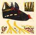 118‐6428<b>moorhen</b>woodcut26 x 26 cms‐GregPoole