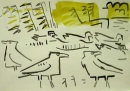 21‐4245 <b>crows, teal & coots</b>  gouache A3 (29.7 x 42 cms) £70&#8208;Greg&nbsp;Poole