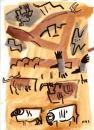 21‐4246 <b>sheep, cattle, crows, buzzard & kestrel</b>  gouache A4 &#8208;Greg&nbsp;Poole