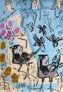 21‐4363<b>jackdaws, avon gorge</b>acrylic & gouache59.4 x 42 cms£150&#8208;Greg&nbsp;Poole