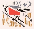 1‐4980 <b>bullfinch</b>  woodcut 26 x 24 cms ‐Greg Poole