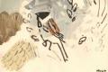 21‐4218<b>reed bunting</b>acrylic & reed pen28 x 38 cms&#8208;Greg&nbsp;Poole