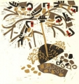 1‐4993 <b>goldfinches on yellow horned poppy</b>  woodcut 42 x 42 cms £190‐Greg Poole