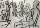 34‐2311 <b>candle lit life drawing</b>  charcoal 59.4 x 82 cms &#8208;Greg&nbsp;Poole